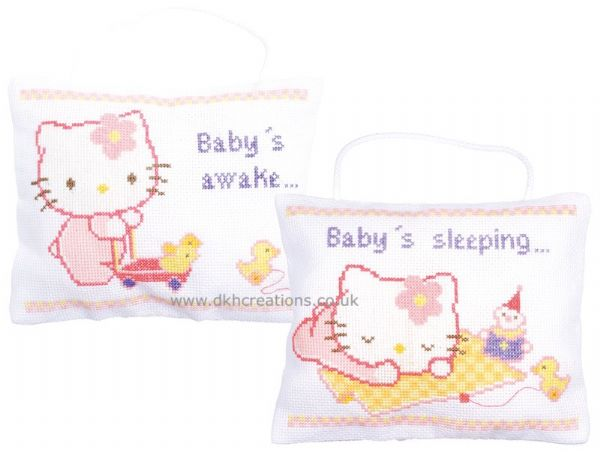 Hello Kitty Baby Signs Awake Or Sleep Cross Stitch Kit